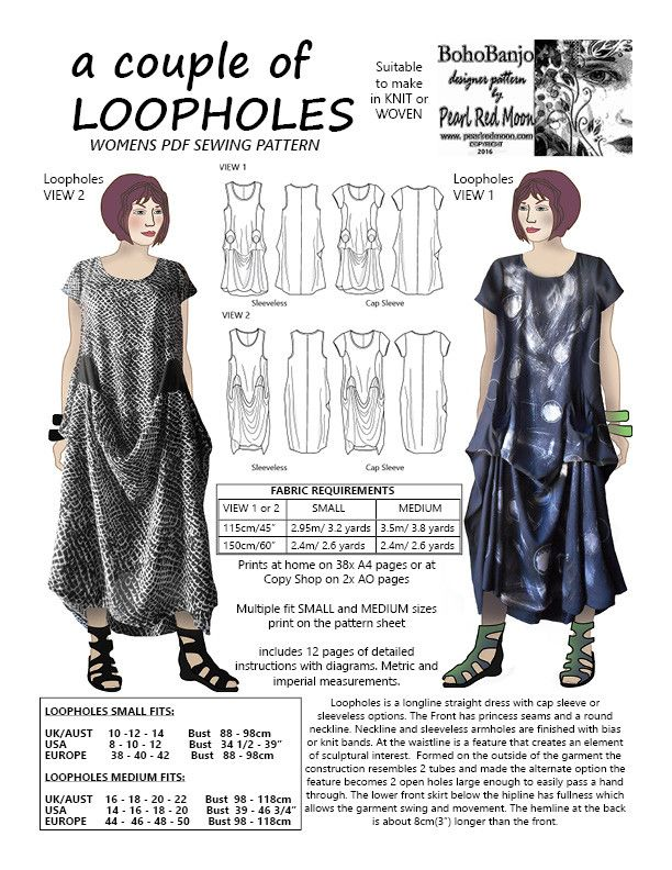 A couple of LOOPHOLES, womens PDF sewing pattern | Sewing Patterns ...