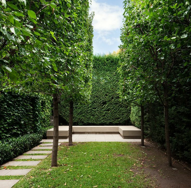 I love the garden bench and the pathway on the side. Stonnington House. Rob Mills Architect