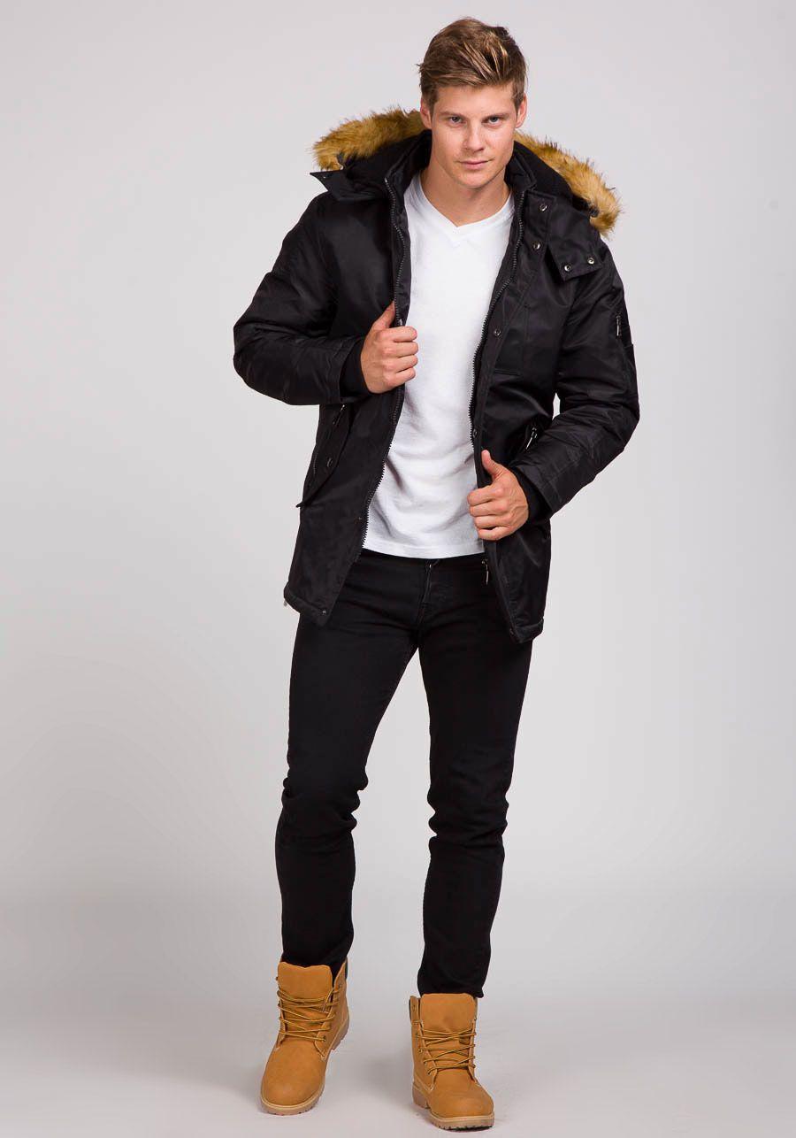 Kurtka Meska Zimowa Parka Czarna Denley 3097 Mens Outfits Clothes For Women Winter Jackets