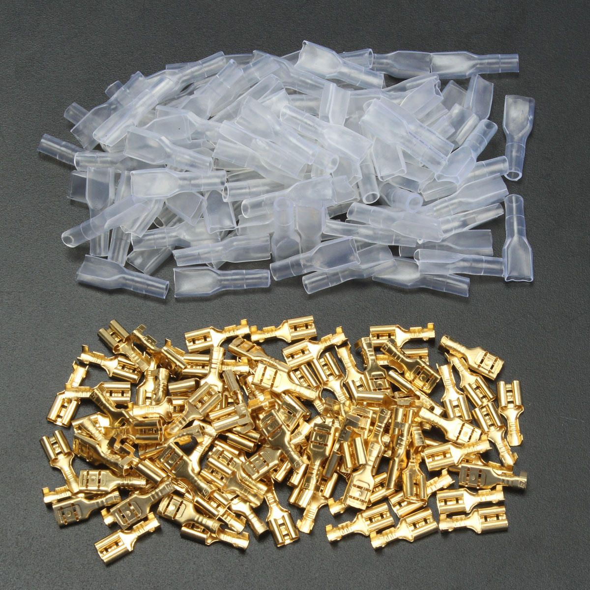 100Pcs Spade Female Heat Shrink Waterproof Wire 22-16AWG Connectors Terminals