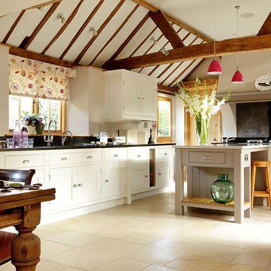Cream Kitchen Ideas That Will Stand: Neutral Open-plan Kitchen With Stone Flooring