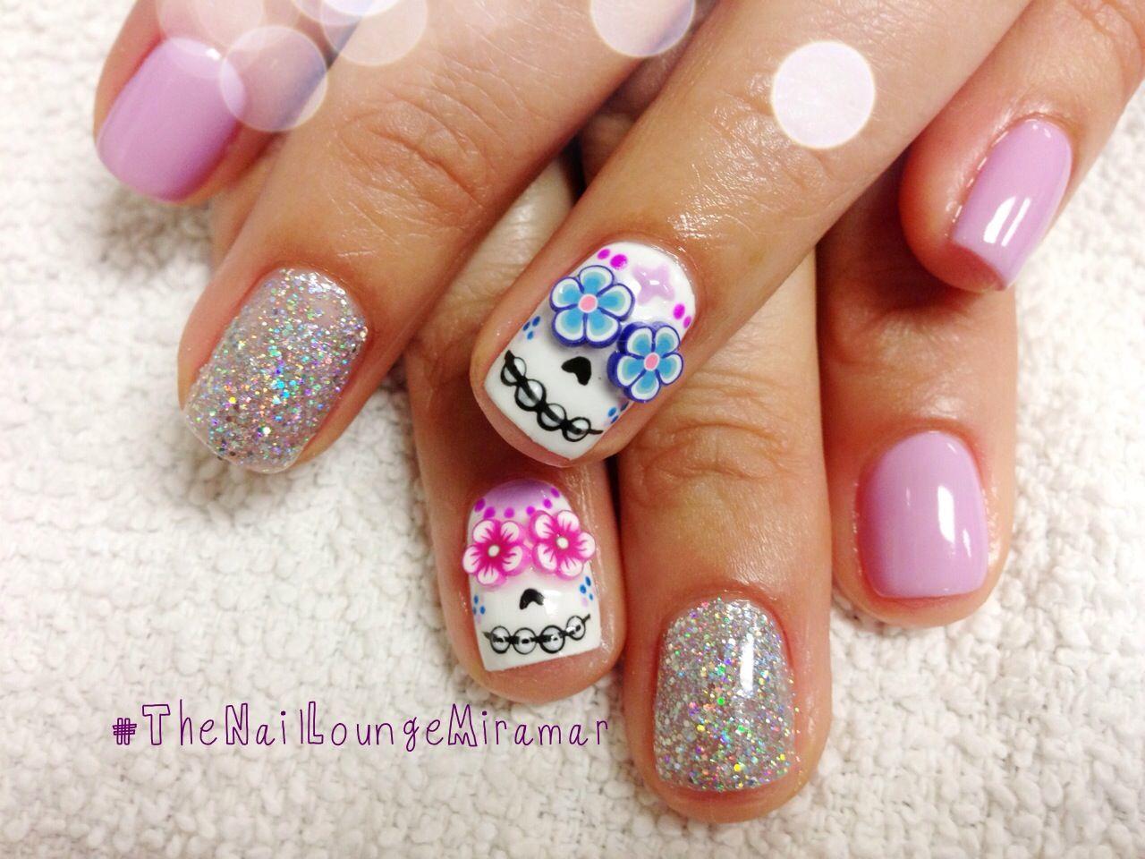 Candy skull nail art | Nail Art | Pinterest | Skull nails, Halloween ...