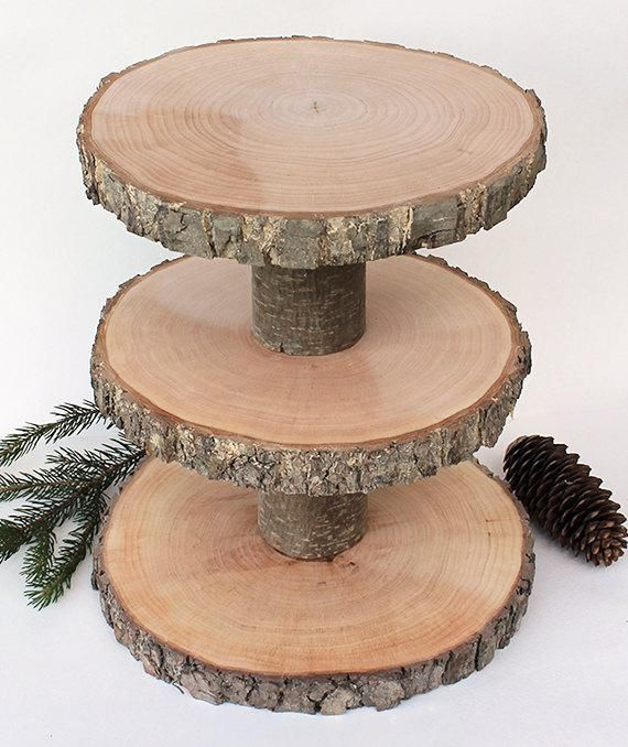 3 Tiered Rustic Cup Cake Stand. Wood Stand. Rustic Cake Stands. Rustic Centerpiece. Rustic Cupcake Stand. Small Size