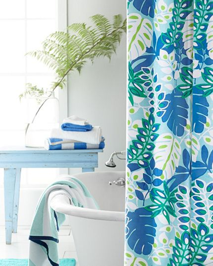 Make your bath a personal island paradise. It's fun and easy with this cotton canvas shower curtain.