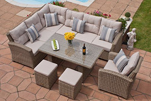 Casamore Milan Natural Grande Corner Sofa Garden Patio Dining Set With Armchairs And Footstools Outdoor Patio Couch Garden Furniture Sets Corner Sofa Garden