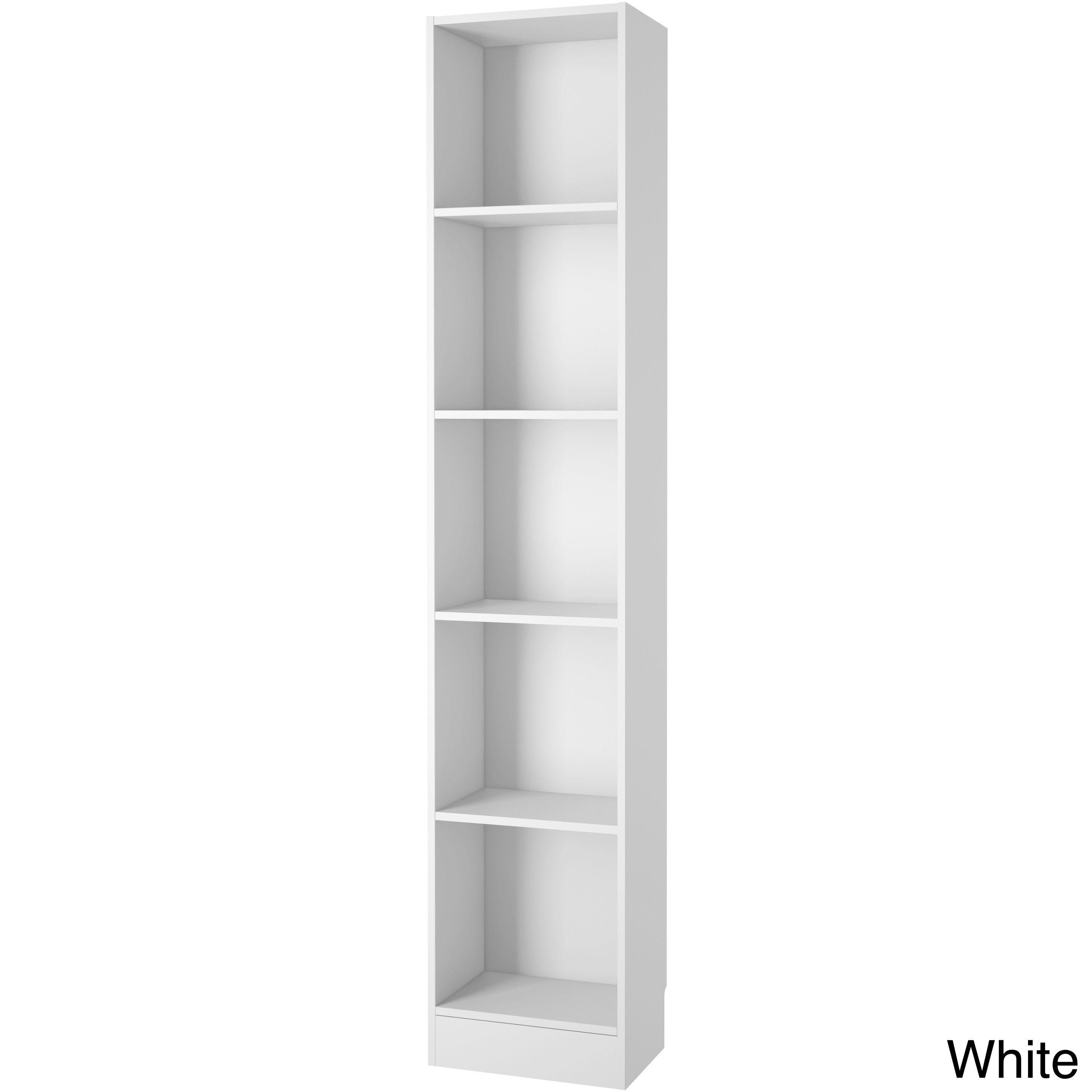 element tall narrow 5 shelf bookcase white white finish rh pinterest com tall narrow shelves with baskets