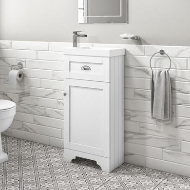 Baxenden 400mm Matt White Floorstanding Vanity Unit and Basin
