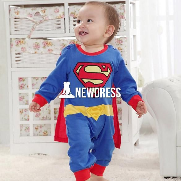 5pcs/lot Wholesale Baby Romper Superman Long Sleeve Baby Dress Smock Infant  Romper Halloween Costume