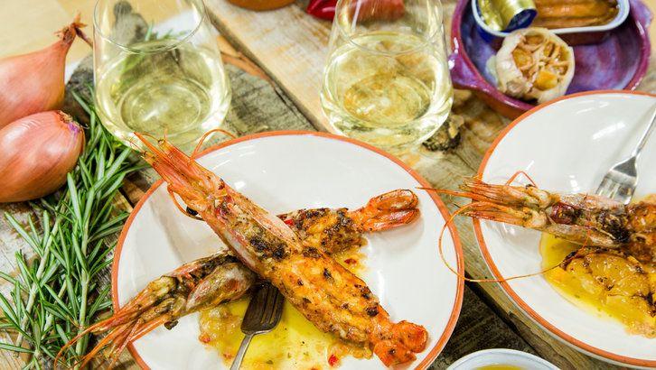 Grilled santa barbara spot prawns with espellete and bagna