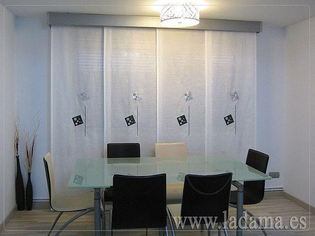 Cortinas modernas panel japon s en blanco y negro black - Cortinas en blanco y negro ...