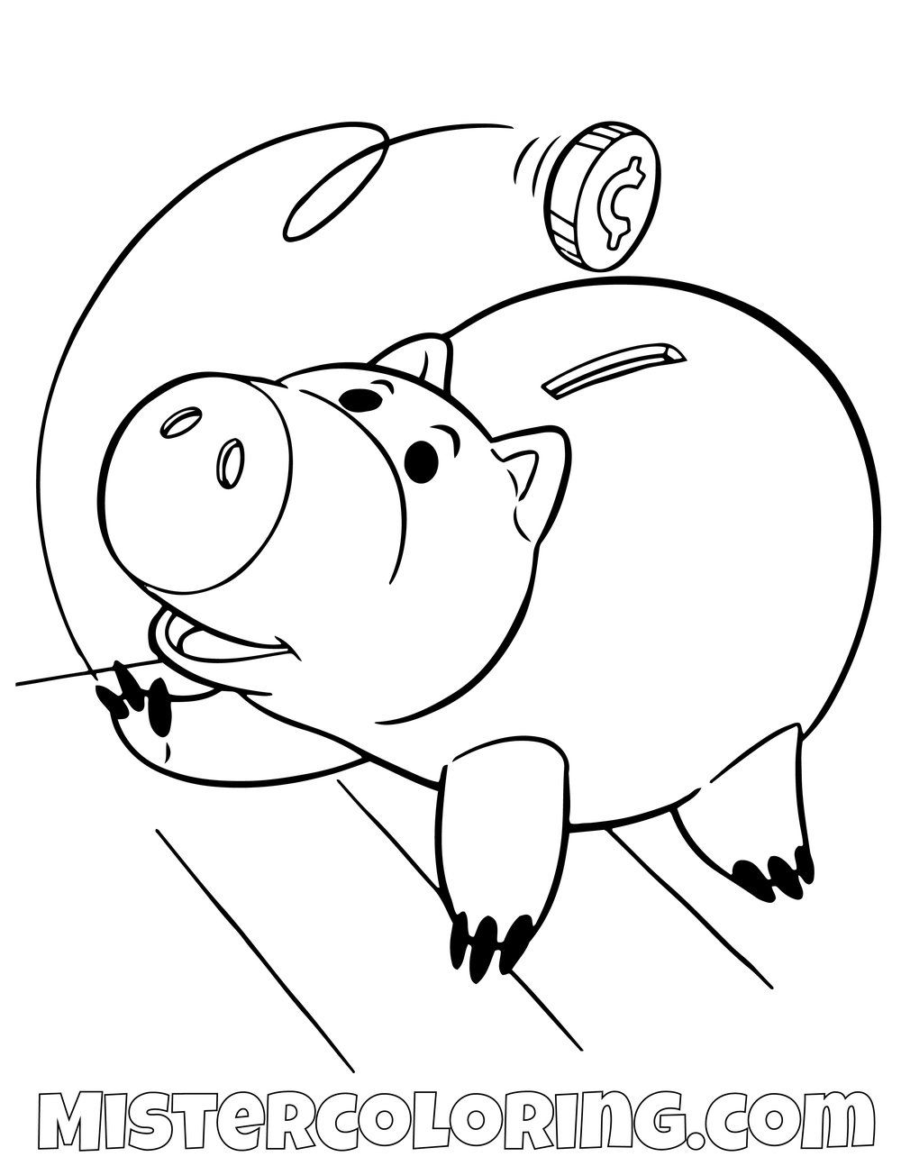 Ham Feeding Himself Coins Toy Story Coloring Page Toy Story