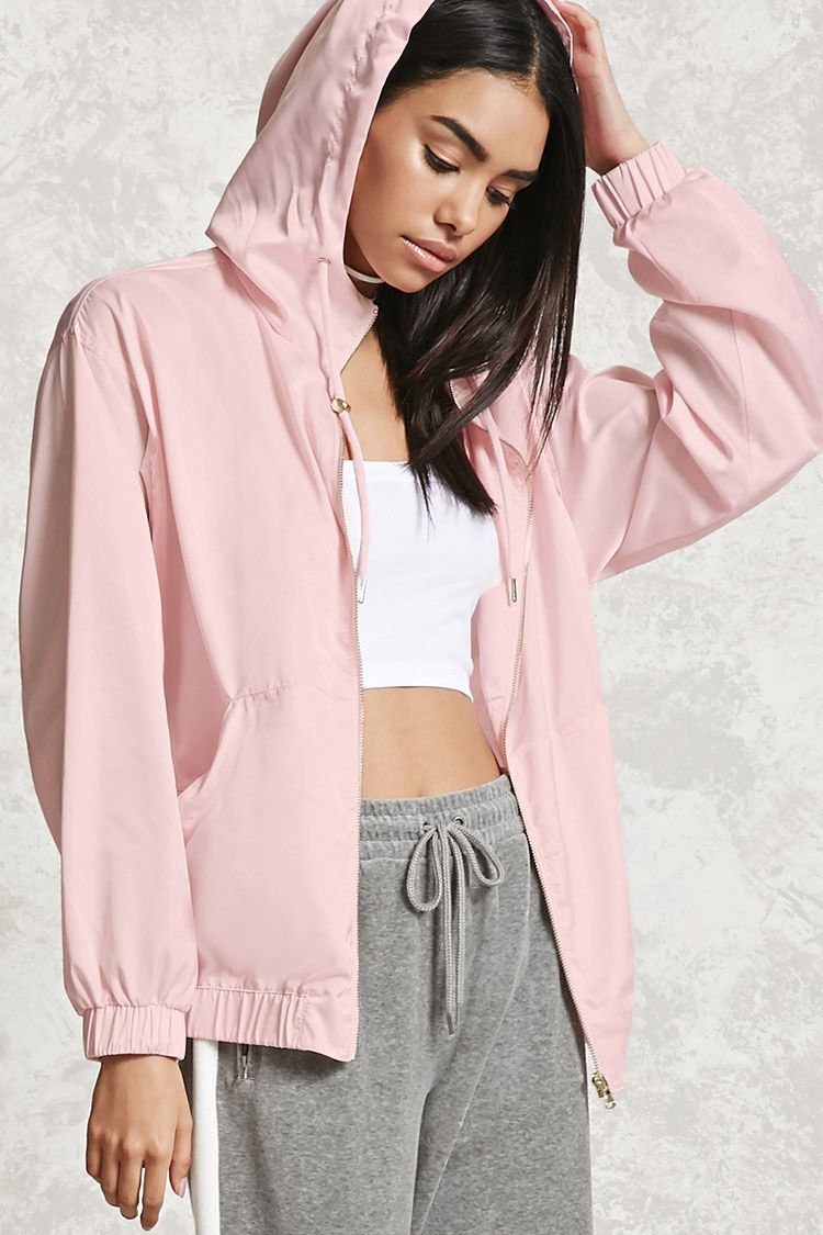 Forever 21 Satin Hooded Jacket