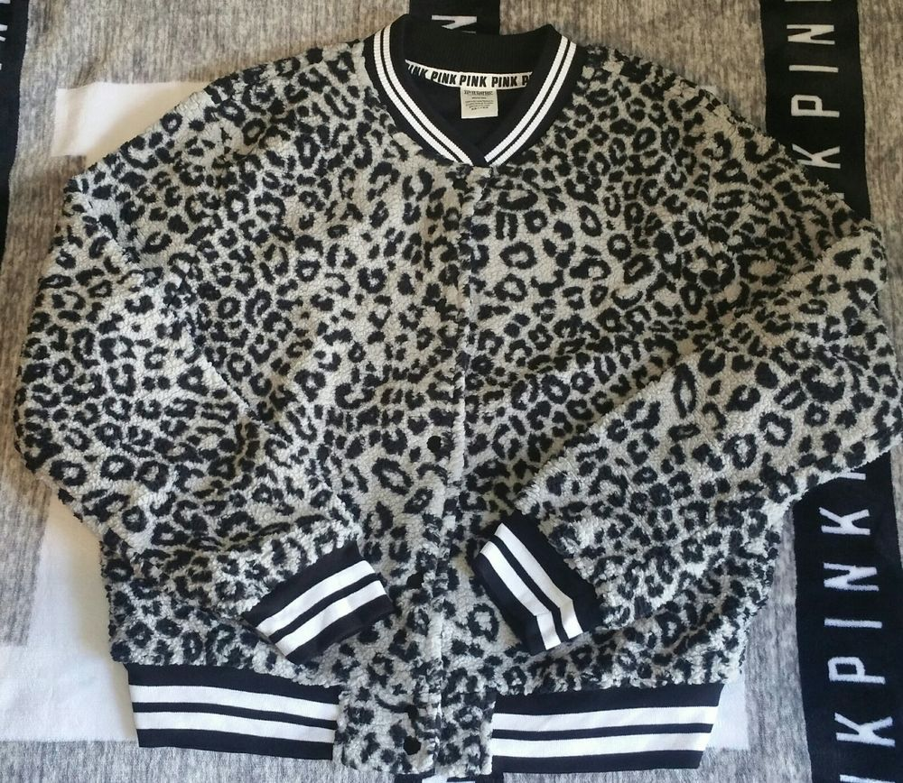 49df6639a10b61 Victoria s Secret PINK Sherpa Bomber Jacket Limited Edition Leopard Medium   fashion  clothing  shoes