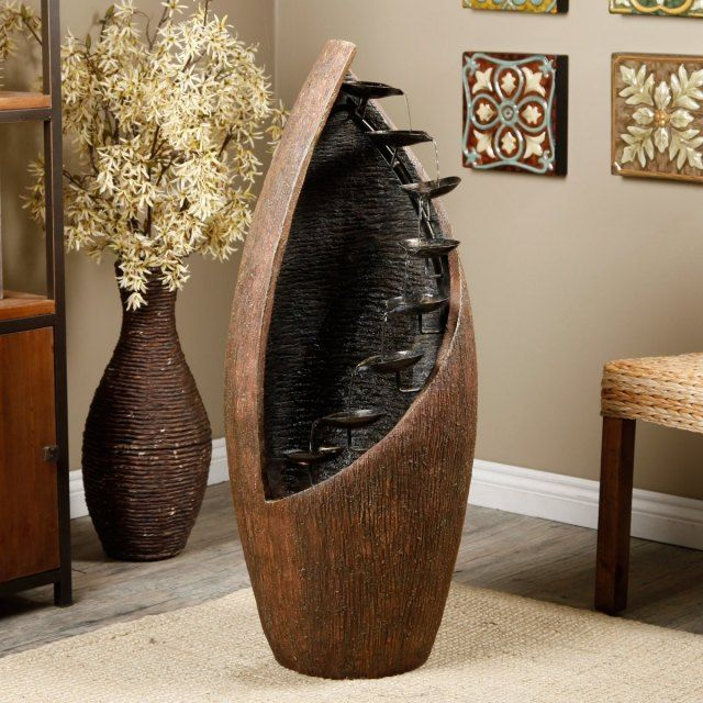 moderne zimmerbrunnen holz metall schalen design rustikal wohnzimmer. Black Bedroom Furniture Sets. Home Design Ideas