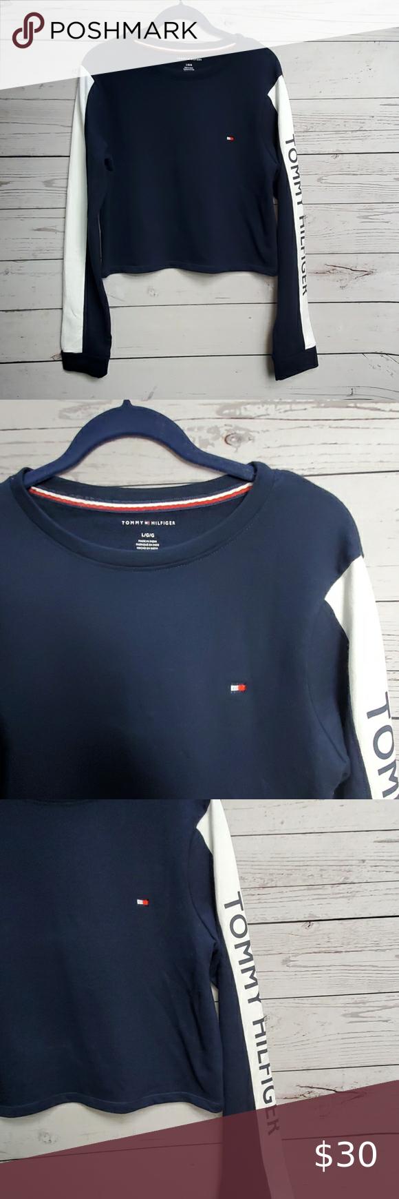Tommy Hilfiger Cropped Sweatshirt Crop Sweatshirt Striped Sleeve Long Sleeve Sweater [ 1740 x 580 Pixel ]