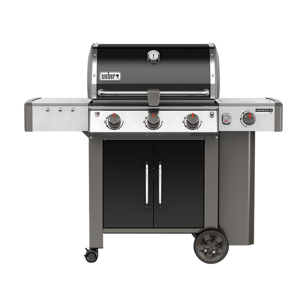 Weber Genesis Ii Lx E 340 3 Burner Propane Gas Grill In Black With Built In Thermometer And Grill Light 61014001 The Home Depot Natural Gas Grill Gas Bbq Propane Gas Grill