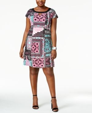 Ny Collection Plus Size Printed Cap-Sleeve Dress - Pink 1X