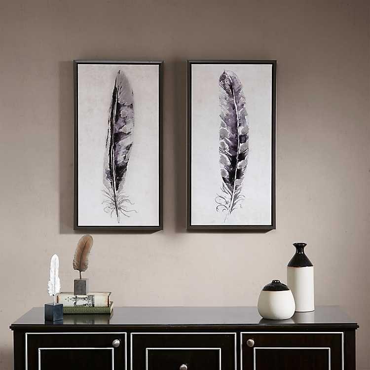 Flight Feathers Framed Canvas Art Prints Set Of 2 From Kirkland S Canvas Wall Art Set Frames On Wall Framed Wall Art Sets