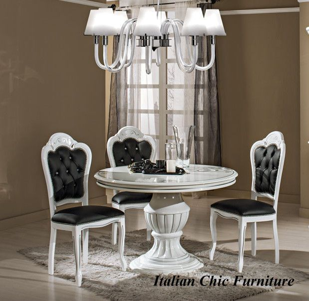 Prestige White Silver Dining Table And Chairs Italian Furniture