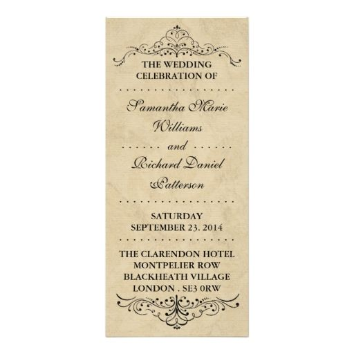 Elegant Vintage Ornate Swirl Wedding Programs Rack Card Design