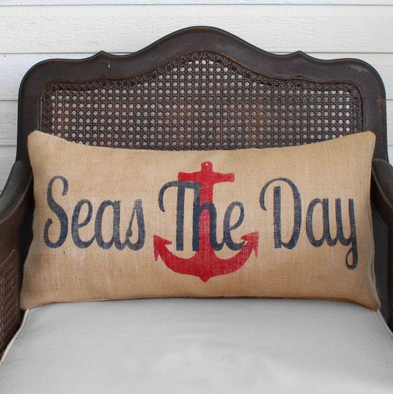 Photo of Seas the Day  – Burlap Pillow – Anchor Pillow – Seas the Day Pillow – Nautical Pillow – Nautical Decor