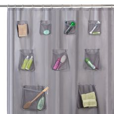 Where The Bathroom Is Shared Space There Never Enough Lots Of Organization Possibilities Mesh Pocket 70 W X 72 L Fabric Shower Curtain