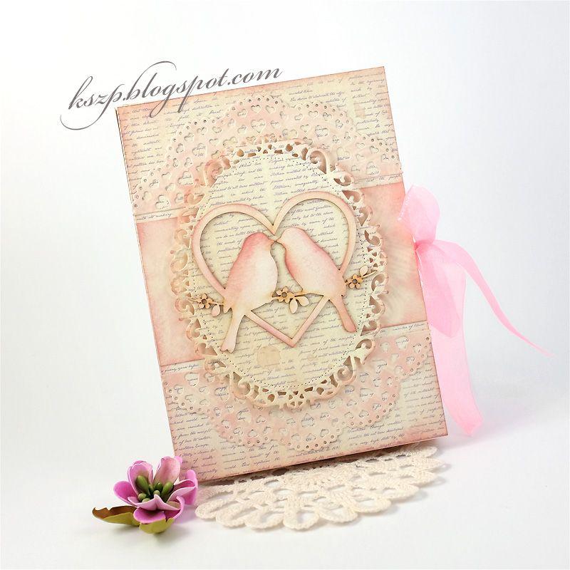 Witajcie :)   Oto moja druga w życiu kartka-księga i druga wykonana na bazie z Rapakivi :) Tym razem prostokątna, w tematyce ślubnej.   Wnęt...