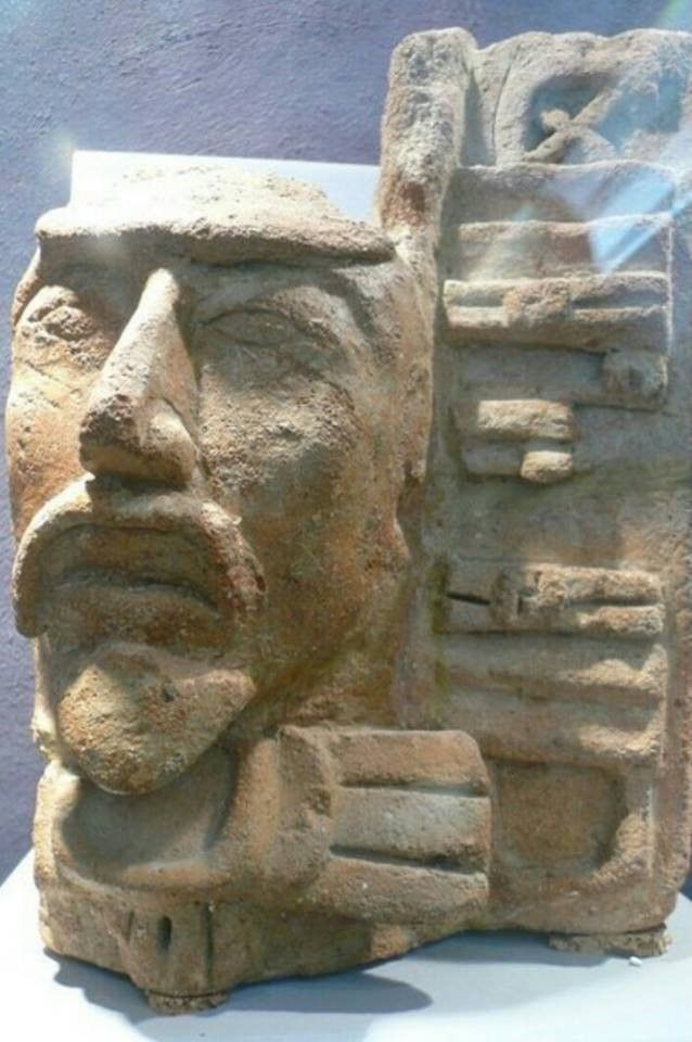 Mayan Bearded head from Comalcalco Mexico. Notice the mustache and the goat beard.  Also seen on Olmec figurines and Tukuturi the kneeling statue of Easter Island.