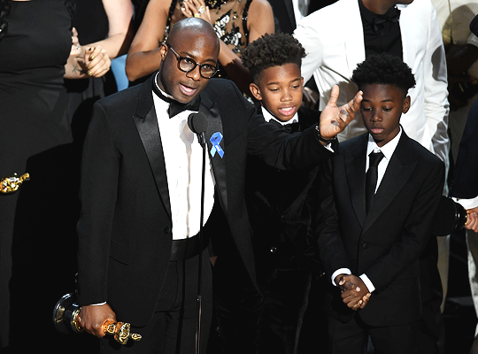 Barry Jenkins, Jaden Piner and Alex R. Hibbert accept Best Picture for 'Moonlight' onstage during the 89th Annual Academy Awards at Hollywood & Highland Center on February 26, 2017 in Hollywood, California.
