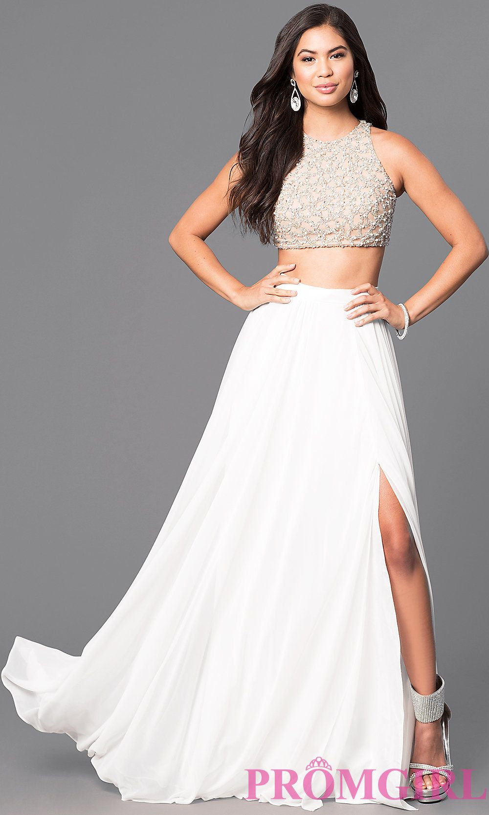 1a5de12bd483 Ivory Two-Piece Prom Dress with Embellished Top | A Girl Can Dream ...
