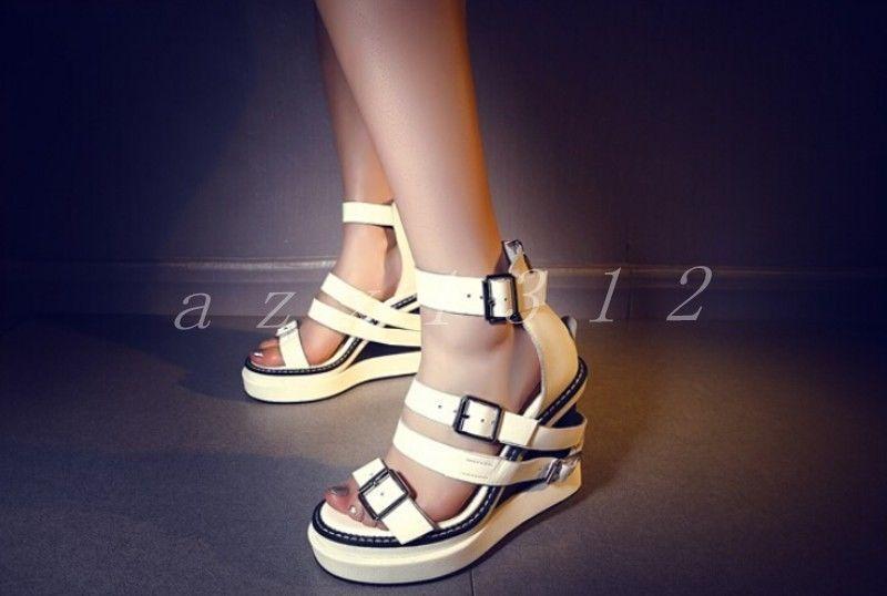 Romans Womens Leather Multi Colors Wedge Slope Heel Sandals Buckels Ladies Shoes