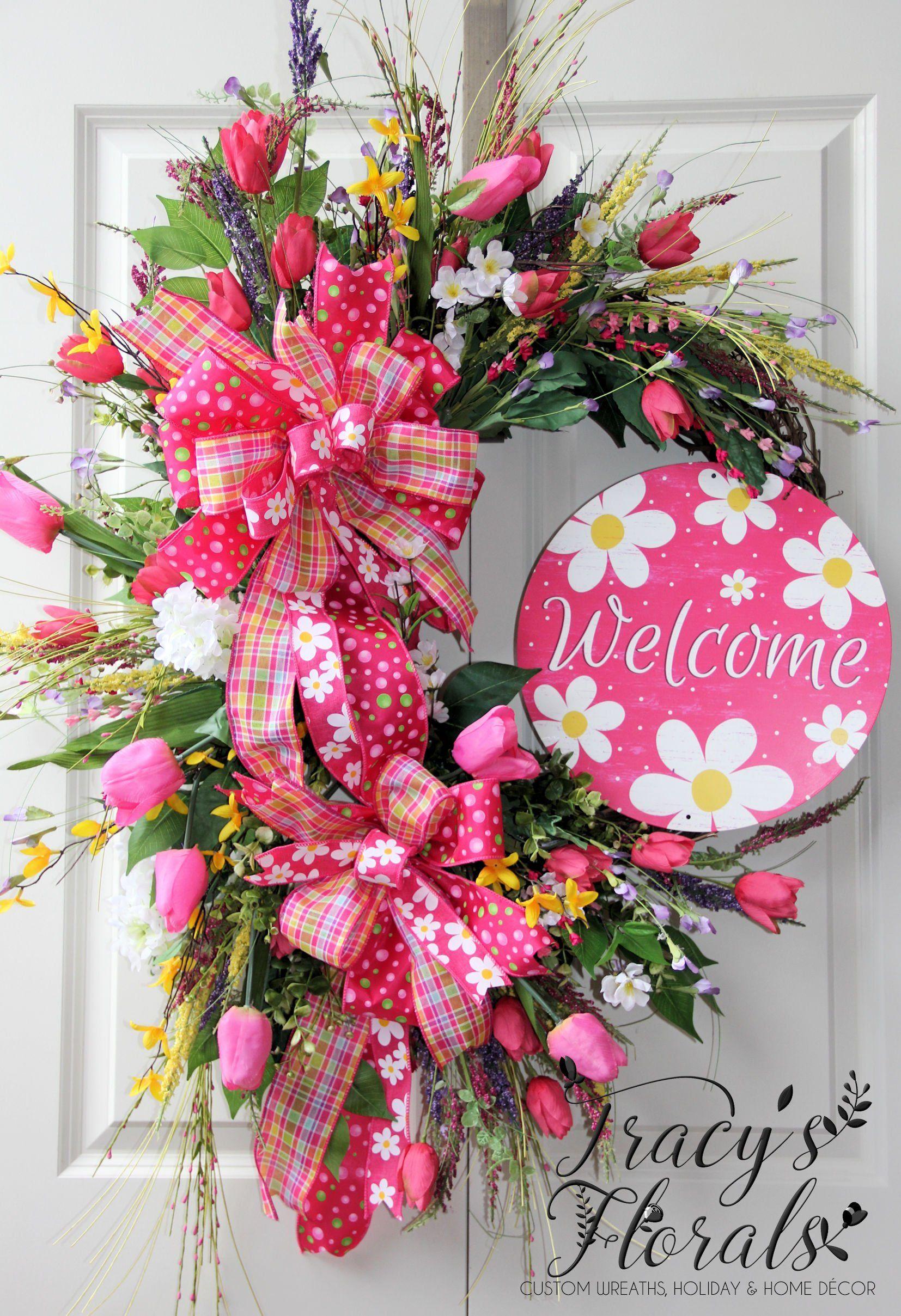 Photo of Spring wreath, XL spring wreath, deluxe spring wreath, spring door hanger, spring decor, Welcome wreath, tulip wreath, hot pink wreath