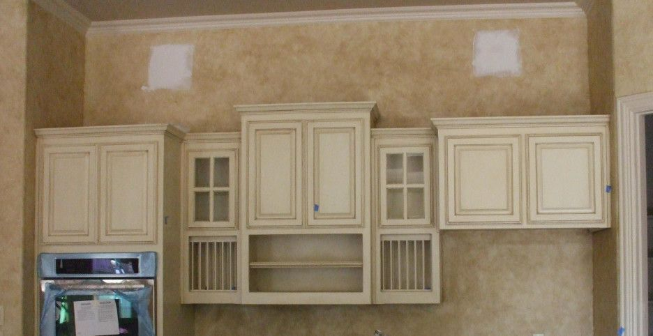 Furniture Broken White Stained Wooden Floating Kitchen Cabinet With