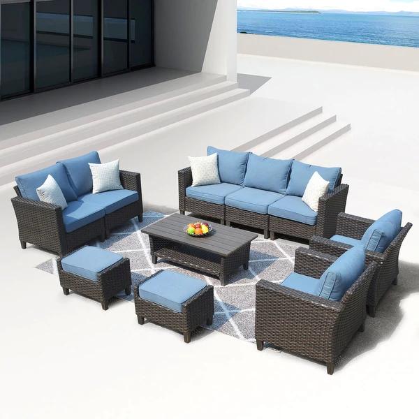 Shop Ovios Patio Furniture Outdoor Furniture Sets High Back Wicker Furniture Sectional 10 Pie Outdoor Furniture Sets Diy Patio Furniture Outdoor Deck Furniture