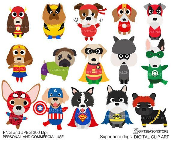 Super Hero Dogs Digital Clip Art For Personal And Commercial Use
