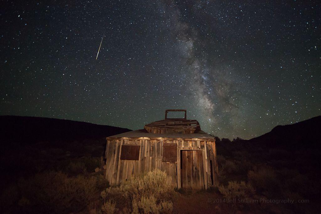 Perseid Meteor Over Mining Ruins