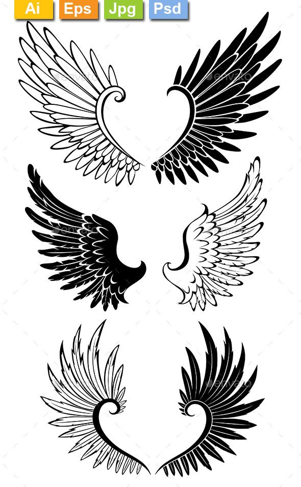 Set Of Wings For Tattoo Photoshop Psd Light White Available