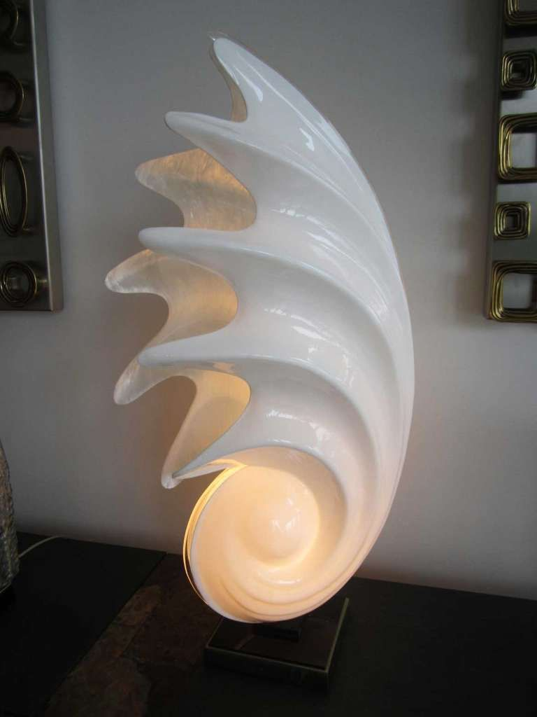 Glass mermaid sitting on conch shell accent lamp eclectic table lamps - View This Item And Discover Similar Table Lamps For Sale At Spiral Shell Table Lamp By Rougier It Has The Original Rougier
