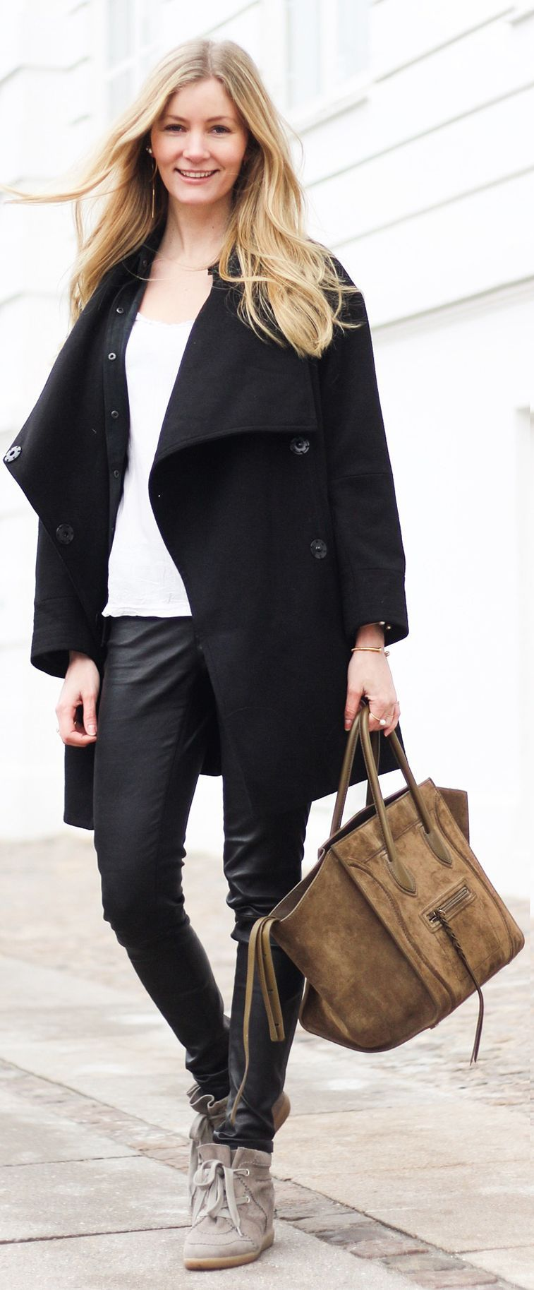 Coffee Suede Tote