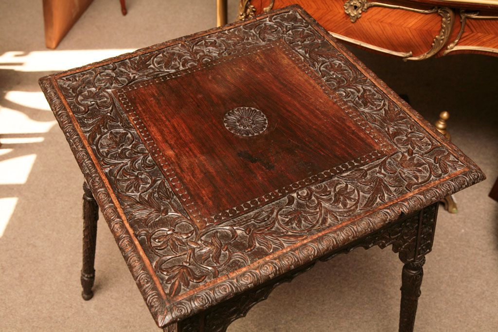 Burmese Carved Rosewood Table Home Accents Wood