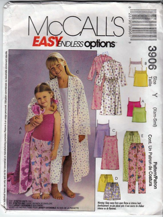 d6cd71198b4 Child s Pajamas and Robe Sewing Pattern Toddler by HoneymoonBus Mccalls  Sewing Patterns