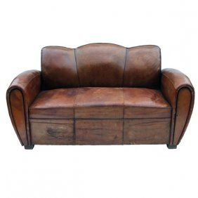 Leather Club Pull Out Sleeper Sofa