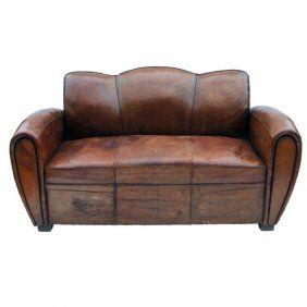 Tremendous Art Deco Leather Club Pull Out Sleeper Sofa Antique Uwap Interior Chair Design Uwaporg