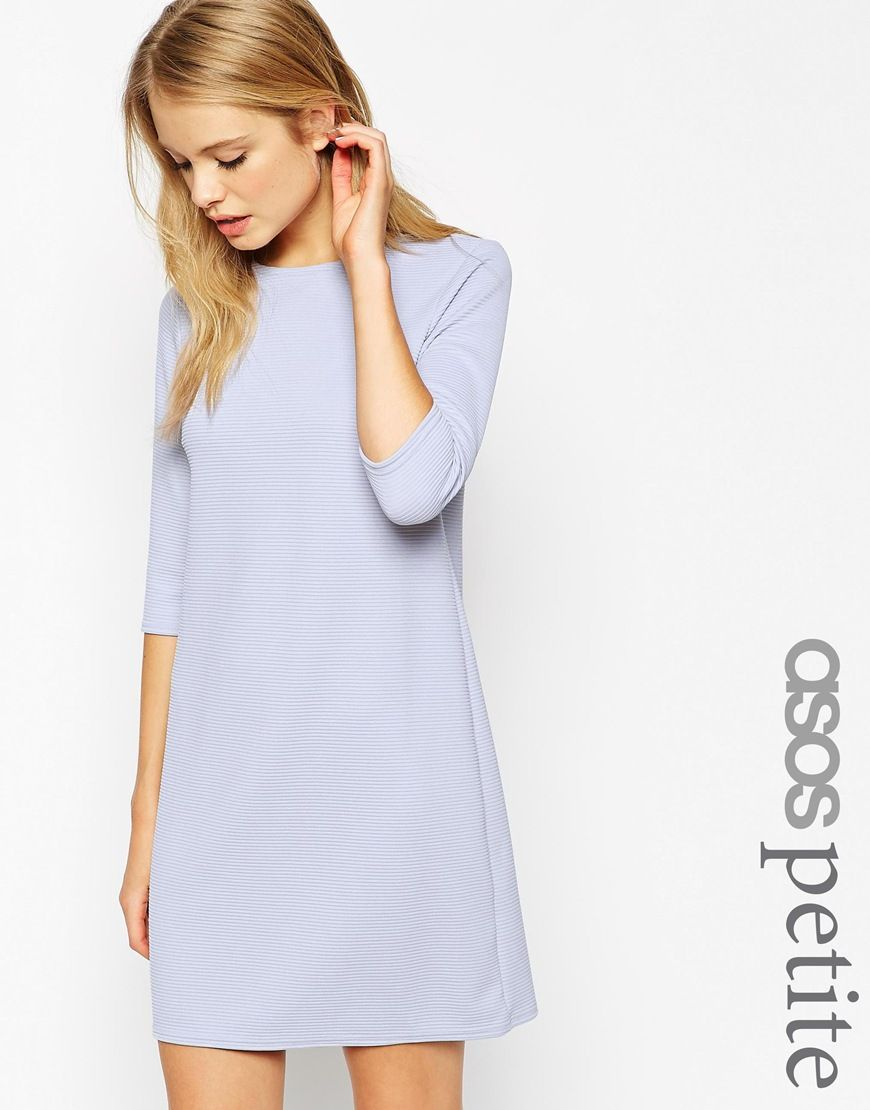 Asos Petite Shift Dress In Jumbo Rib With 3 4 Sleeves At Asos Com Frauen Outfits Modestil Tuch [ 1110 x 870 Pixel ]