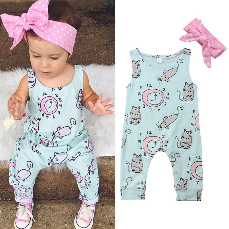 Unique Baby Girls Cotton Geometric Romper
