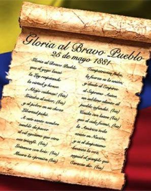 El Glorioso Himno Nacional De La Republica Bolivariana De Venezuela Es Una Composicion Musical Patriotica Venezolana De 1810 Letra De Venezuela Arepas Country