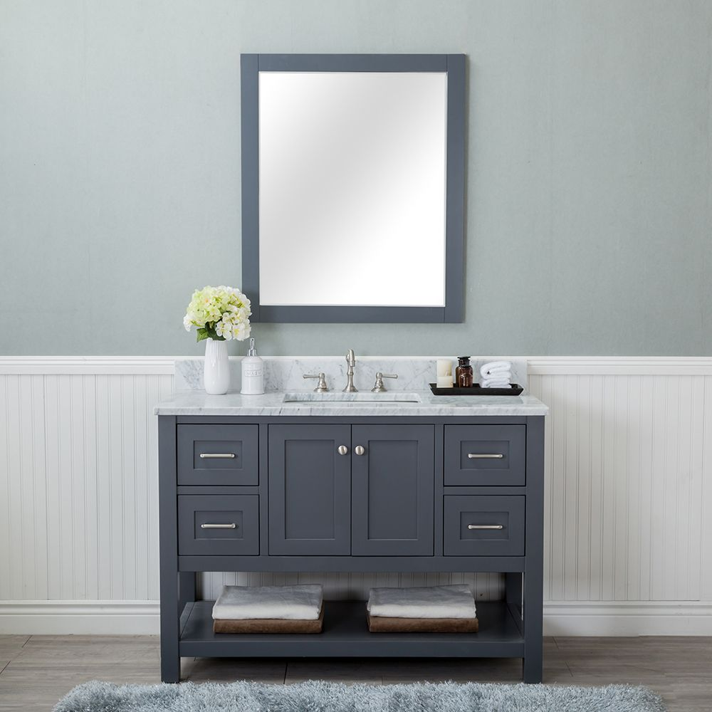 Innoci Usa San Clemente 48 In Vanity In White With Italian Carrara Marble Vanity Top In White With White Basin And Mirror 93482322 The Home Depot Marble Vanity Tops Bathroom Vanity Tops