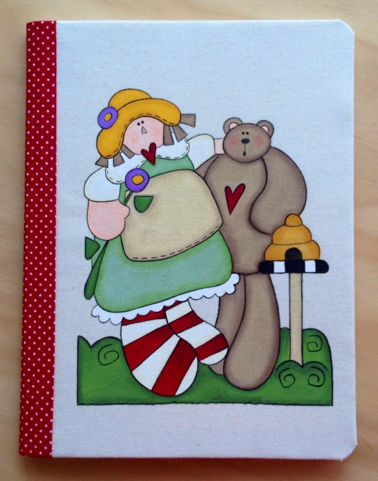 Cuaderno Con Forro de Tela Pintado a Mano por Angélica Tamayo