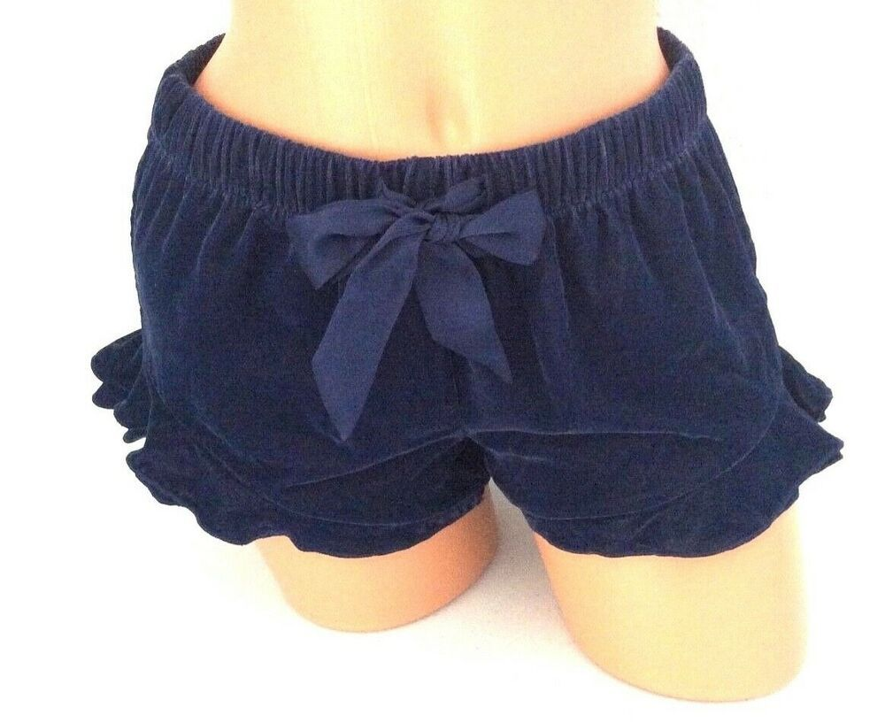 navy blue velvet shorts