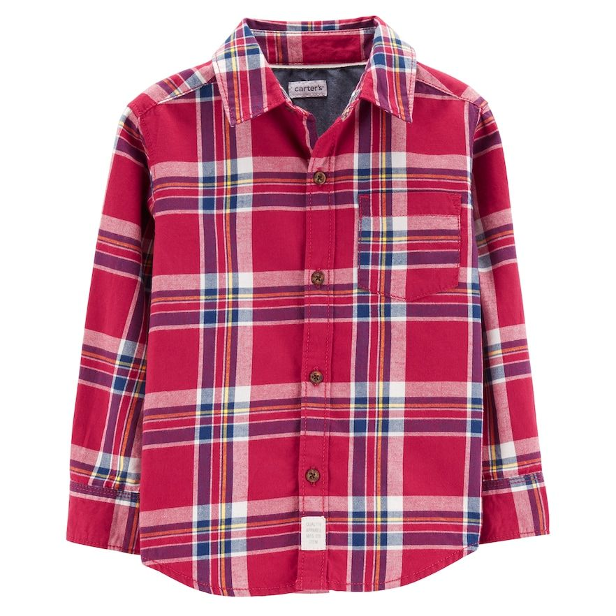 Carter/'s Kid Boys Plaid Button Down Shirt 4//5 Black Red New